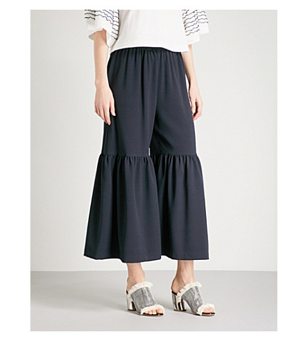 SEE BY CHLOE Cropped flared crepe trousers (Ultramarine