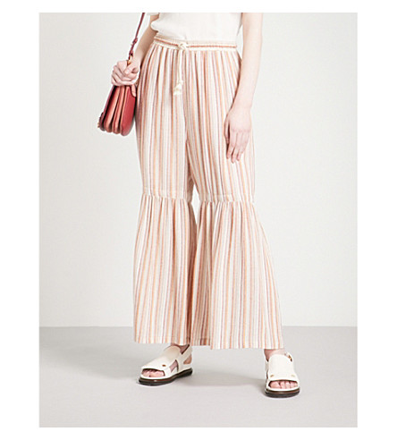 SEE BY CHLOE Striped woven trousers (Multicolor+2
