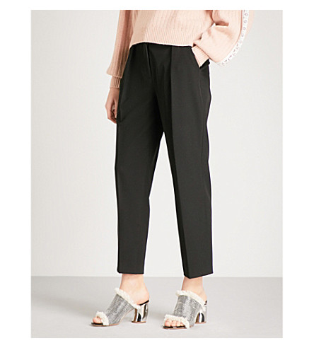 SEE BY CHLOE Tapered high-rise woven-twill trousers (Black