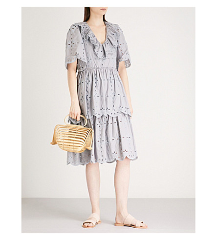 SEE BY CHLOE Broderie anglaise cotton dress (Lilac+grey