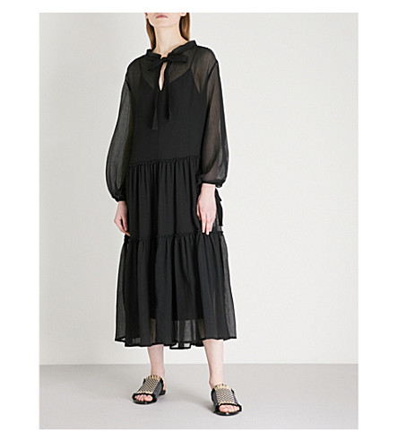 SEE BY CHLOE Ruched cotton and silk-blend dress (Black