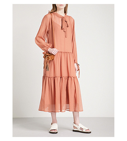 SEE BY CHLOE Ruched cotton-chiffon dress (Amber+brown