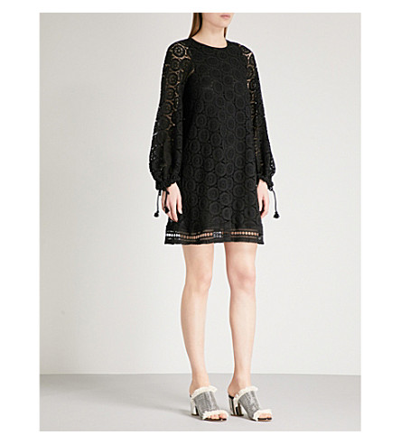 SEE BY CHLOE Crocheted cotton mini dress (Black