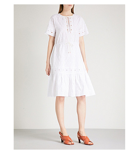 SEE BY CHLOE 喇叭 broderie anglaise 棉连衣裙 (白色