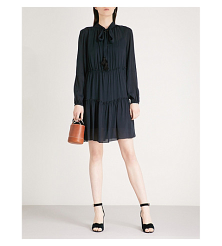 SEE BY CHLOE Neck-tie crepe mini dress (Ultramarine