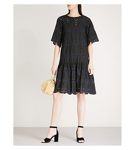 SEE BY CHLOE Broderie anglaise cotton dress (Black