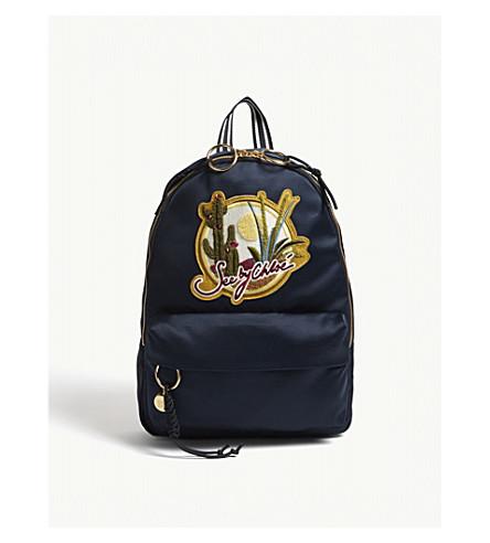SEE BY CHLOE Cactus motif satin backpack (Ultramarine