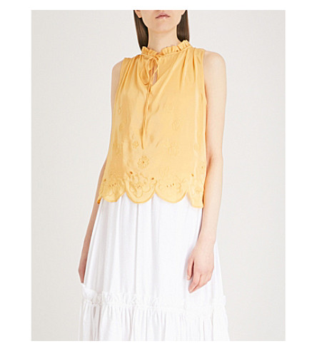 SEE BY CHLOE Floral-embroidered woven top (Ochre