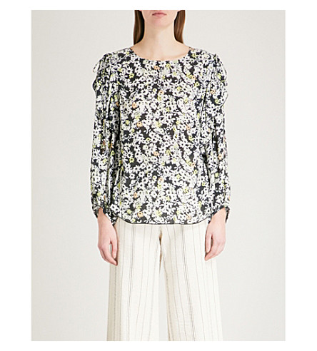 SEE BY CHLOE Vanishing floral-print chiffon top (Multi+grey