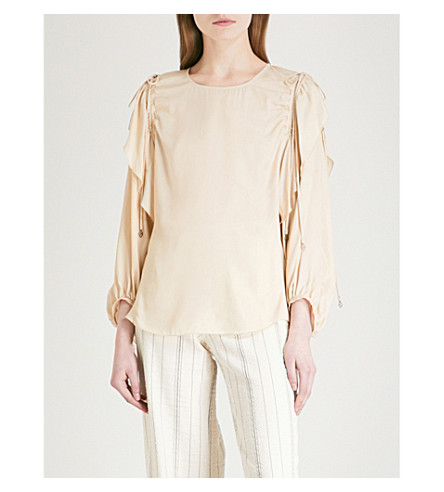 SEE BY CHLOE Drawstring-detail woven top (Angora+beige