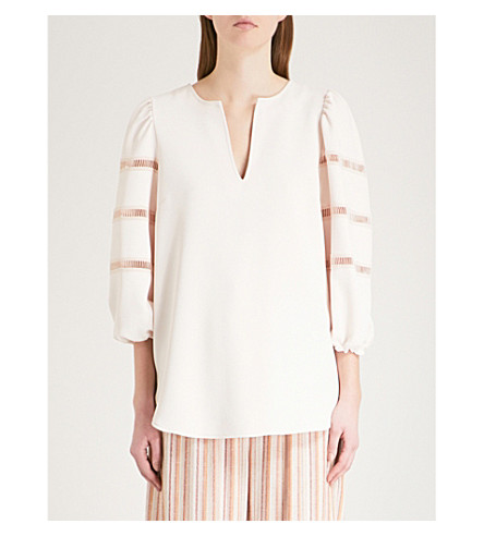 SEE BY CHLOE Laddered-detail crepe and cotton top (Honey+nude