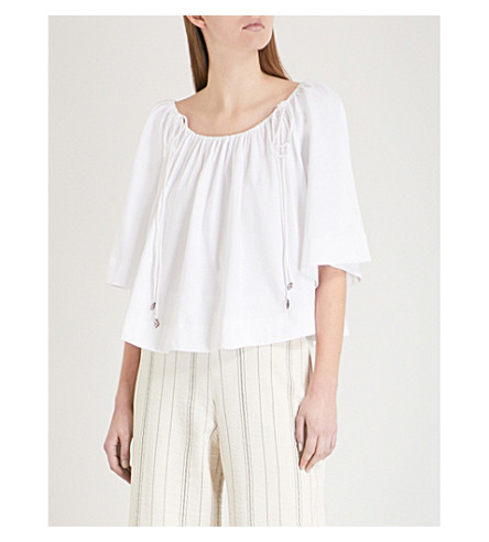 SEE BY CHLOE Drawstring cropped cotton-gauze top (White