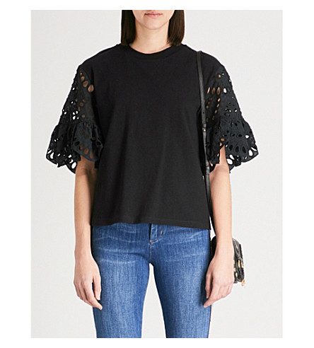 SEE BY CHLOE Broderie anglaise cotton-jersey top (Black