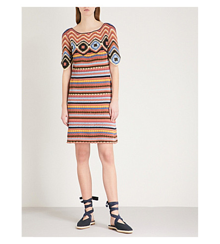 SEE BY CHLOE Striped crotchet-knit cotton dress (Multicolor+2