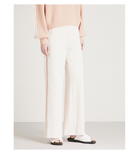 SEE BY CHLOE Laddered-trim wide-leg crepe trousers (Honey+nude