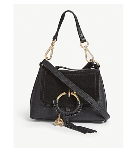 f4ac989b70b6 SEE BY CHLOE Joan leather and suede cross-body bag (Black
