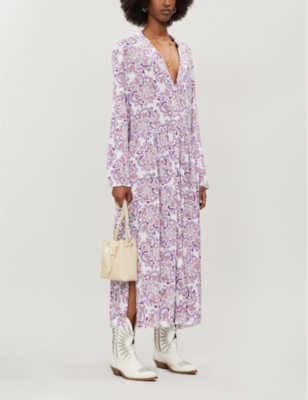 Floral-print loose-fit crepe midi dress