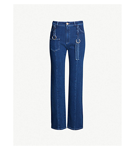 SEE BY CHLOE Plait detail straight high-rise jeans (Ink marine