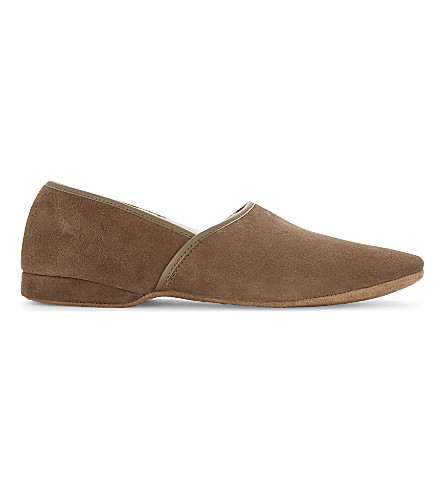 DEREK ROSE Closed back sheepskin slippers (Beige