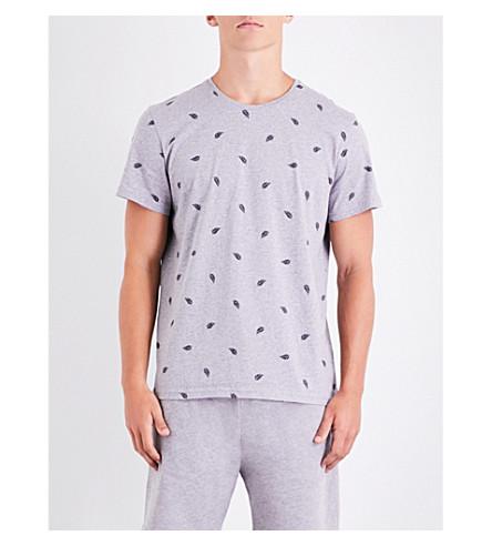 DEREK ROSE Leaf-print cotton-jersey T-shirt (Silver