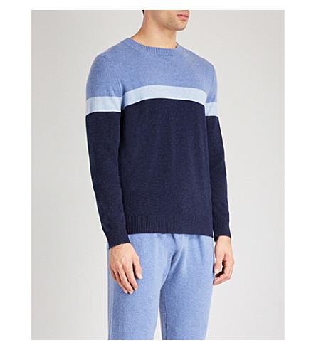 DEREK ROSE Finley striped cashmere jumper (Light+blue+navy
