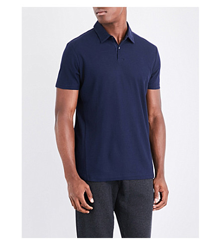 DEREK ROSE Roland cotton-piqué polo shirt (Navy