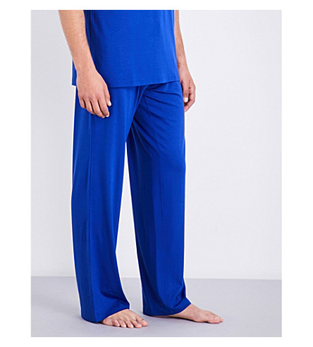 DEREK ROSE Dropped-crotch jersey pyjama bottoms (Brt+blue
