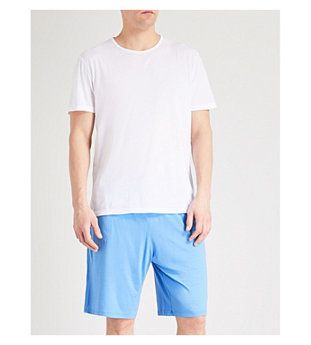 DEREK ROSE Basel stretch-jersey pyjama shorts (Blue