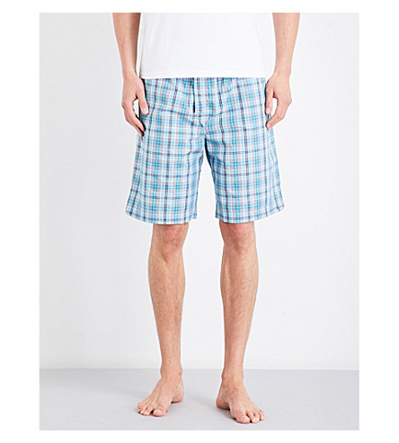 DEREK ROSE Naturally check cotton house shorts (Teal+orng