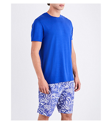 DEREK ROSE Jungle cotton-woven pyjama shorts (Mid+blue