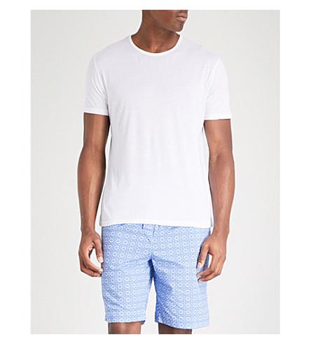 DEREK ROSE Ledbury relaxed-fit cotton pyjama shorts (Lt+blue
