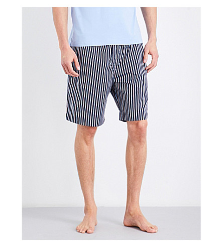 DEREK ROSE Naturally stripe cotton house shorts (Navy+red