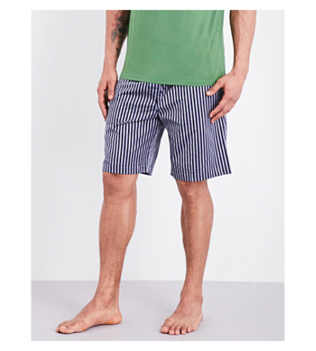 DEREK ROSE Royal 205 cotton pyjama shorts (Navy+grn