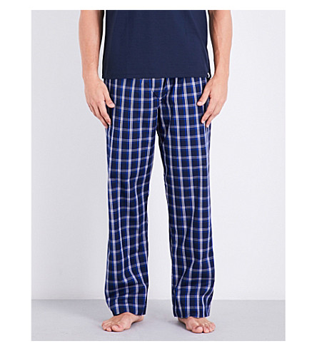 DEREK ROSE Naturally checked woven-cotton pyjama bottoms (Navy