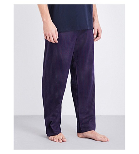 DEREK ROSE Naturally checked brushed-cotton pyjama bottoms (Navy+red