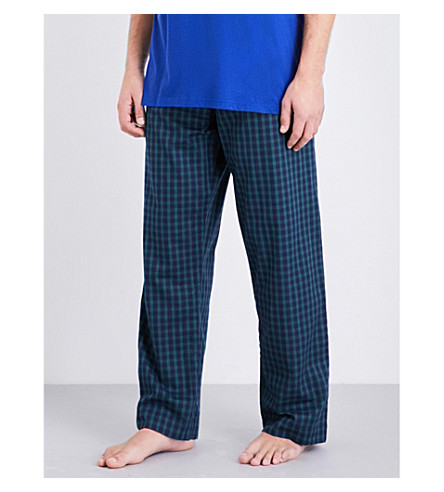 DEREK ROSE Naturally checked woven-cotton pyjama bottoms (Green