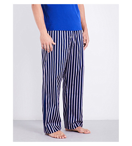 DEREK ROSE Naturally striped cotton pyjama bottoms (Navy