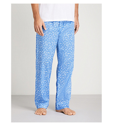 DEREK ROSE Modern-fit cotton pyjama bottoms (Lt+blue