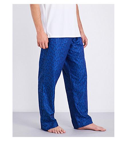 DEREK ROSE Leaf-print woven pyjama bottoms (Brt+blue