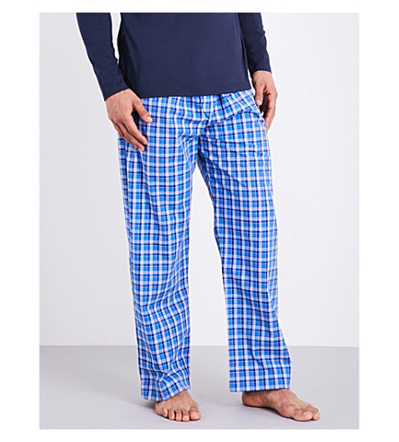 DEREK ROSE Ranga 28 cotton pyjama bottoms (Mid+blue