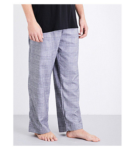 DEREK ROSE Naturally checked brushed-cotton pyjama bottoms (Mono