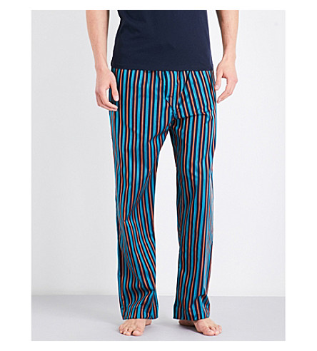 DEREK ROSE Naturally stripe cotton pyjama bottoms (Teal+orng