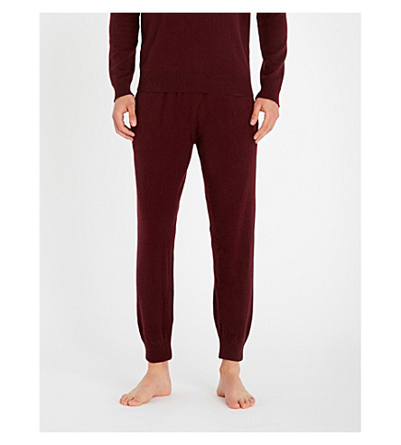 DEREK ROSE Finley cashmere pyjama bottoms (Burgundy