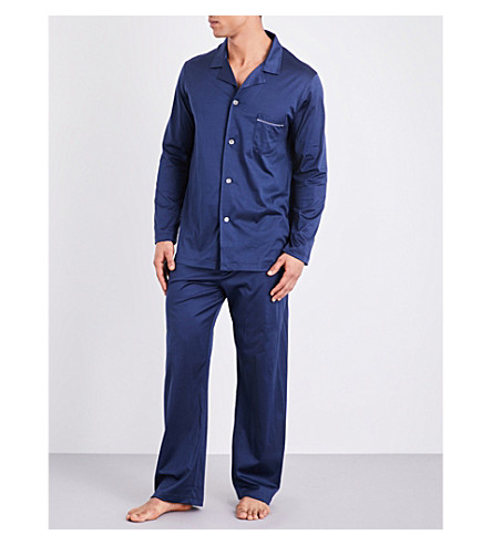 DEREK ROSE Bari 3 cotton pyjama set (Navy
