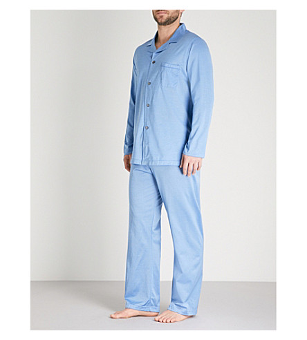 DEREK ROSE Bari cotton-jersey pyjama set (Lt+blue