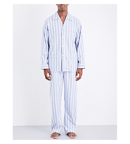 DEREK ROSE Arran 20 Classic striped brushed-cotton pyjama set (Blue+green