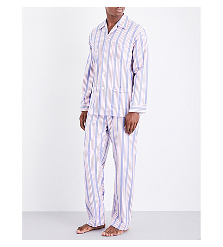 DEREK ROSE Arran 20 Classic multistriped brushed-cotton pyjama set (Blue+red