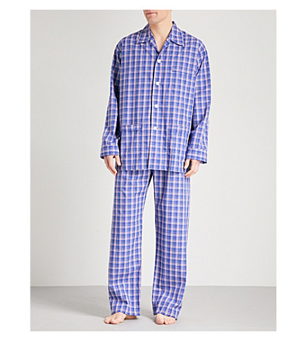 DEREK ROSE Barker 017 checked cotton pyjama set (Dk+blu+red