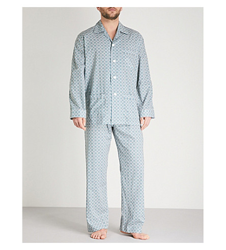 DEREK ROSE Diamond-print cotton pyjama set (Blu+orng