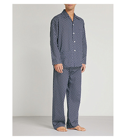 DEREK ROSE Paisley-print cotton pyjama set (Navy